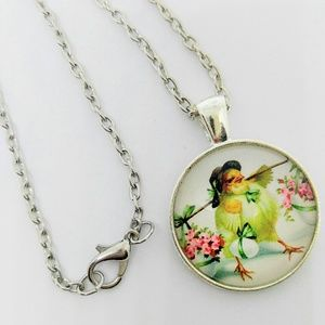 NEW Cabochon Necklace Silver Chick/Chicken